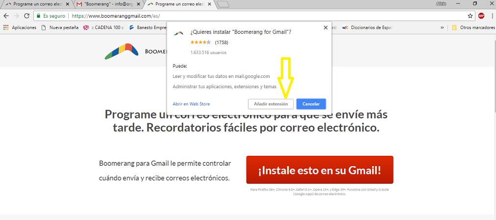 Boomerang para Gmail – programa tus correos